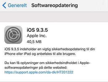 Apples nye opdatering iOS 9.3.5 indeholder 'en vigtig sikkerhedsopdatering', påpeger Apple selv.