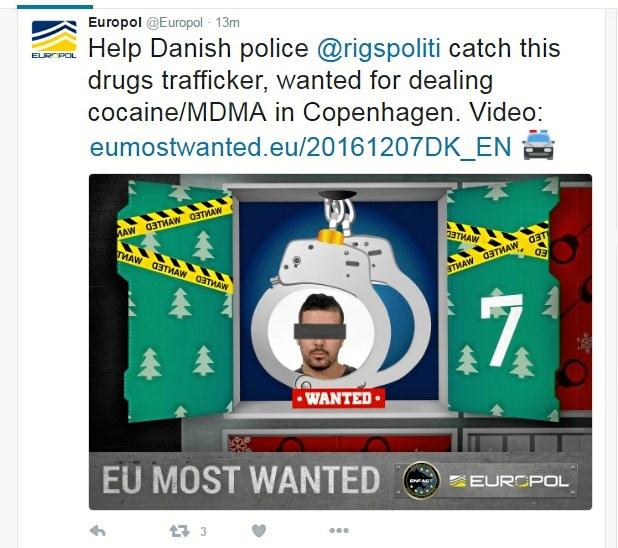 Julen er ikke kun hjerternes tid, mener Europol, der med en julekalender fokuserer på eftersøgte forbrydere