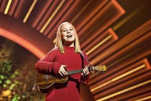"""Sangen """"Til næste år"""", som blev sunget af Mille fra Risskov, får flest stemmer ved børnenes MGP lørdag aften."""