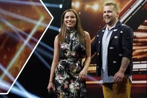 """Mens Sofie Linde passede baby Trine, tog hendes mand, Joakim Ingversen, over som """"X Factor""""-vært."""