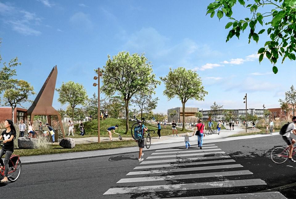 Visualisering, der viser Rådhusparken set fra den nye trappe på Værkergrunden. Visualisering: LBB3