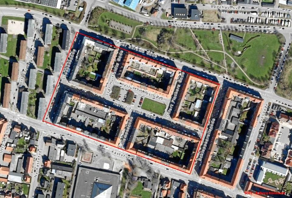 Parkeringsmulighederne bliver optimeret Indenfor det markerede område. Grafik: Aalborg Kommune