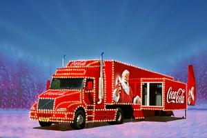 Cola-lastbilen kommer til byen