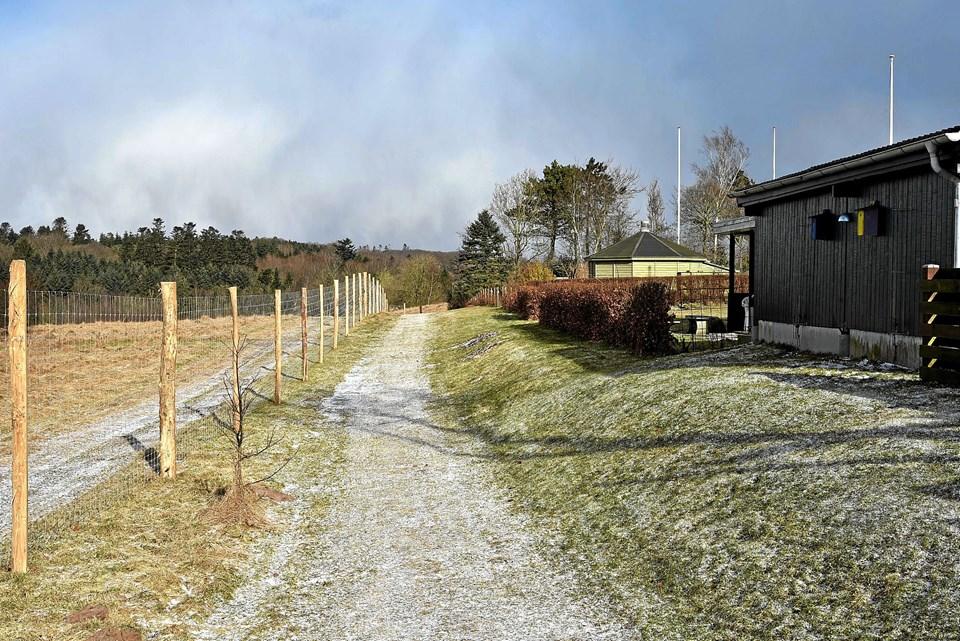 Op til parcelhuskvarteret er hegnet kun 5 meter fra en grundejerens skel. Ikke alle er tilfreds med placeringen. Foto: Niels Helver