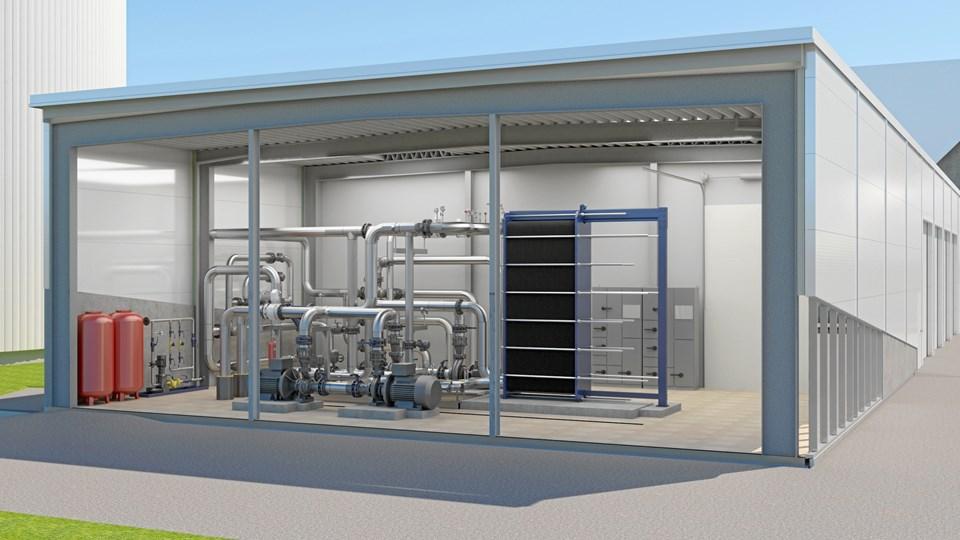 Det indvendige af teknikbygningen ved Aabybo kommer til at se sådan her ud. Illustration: Arcon-Sunmark