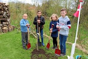 Elever i Arden plantede æbletræ
