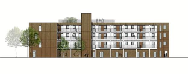 Projektet omfatter 29 lejligheder samt to erhvervslejemål. Illustration: Calum A/S