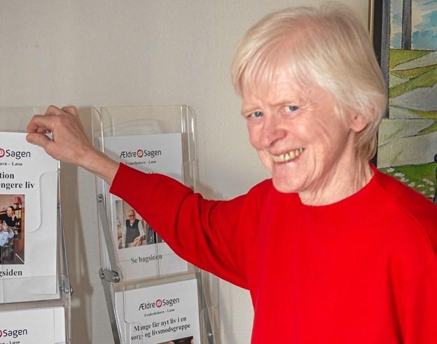 Grete Larsen er frivillig på Ældre Sagens kontor. Foto: Jørgen Anker