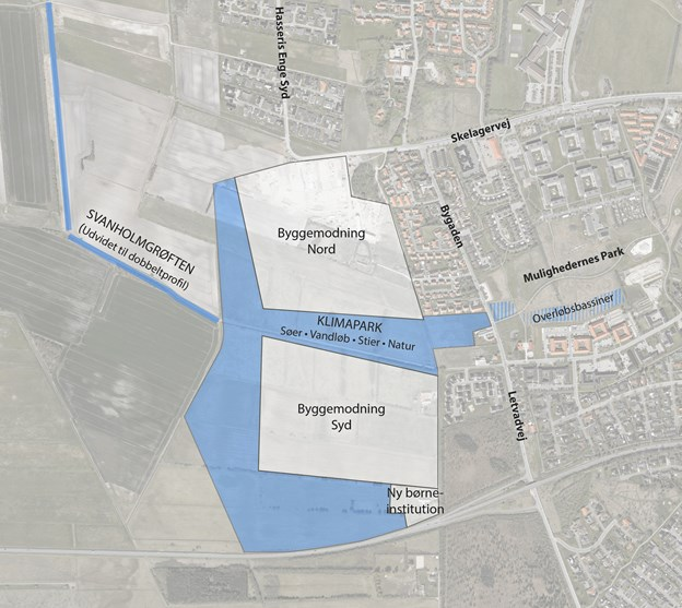 Klimaparken ligger mellem de to boligområder. Kort: Aalborg Kommune