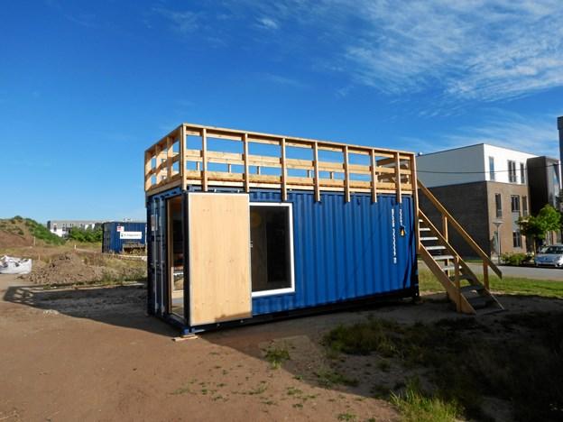 Formidlingscontaineren er indkøbt i samarbejde med bygherre A. Enggaard A/S for at lave formidling af udgravningen, mens den står på, og for at præsentere det kommende byggeprojekt med 300 boliger. Foto: Nordjyllands Historiske Museum