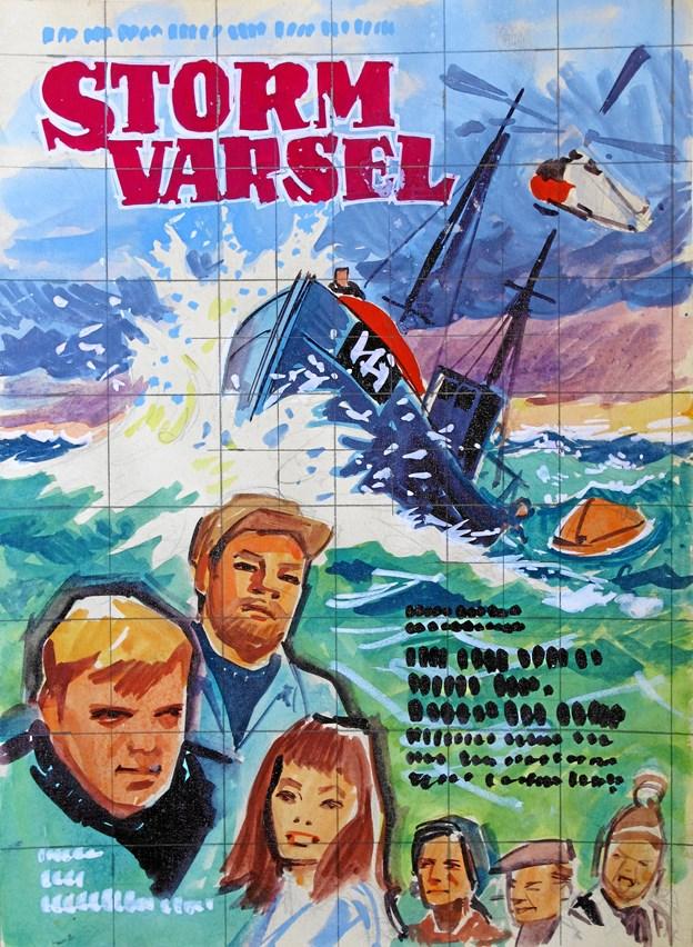 Skitsen til filmen Stormvarsel - en af de 40 plakater, der fra lørdag 14. juli er udstillet i Lønstrup Café-Bio.