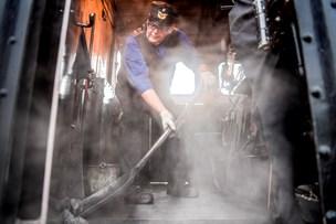 Damplokomotiver holder stille: veteranjernbane venter på regn