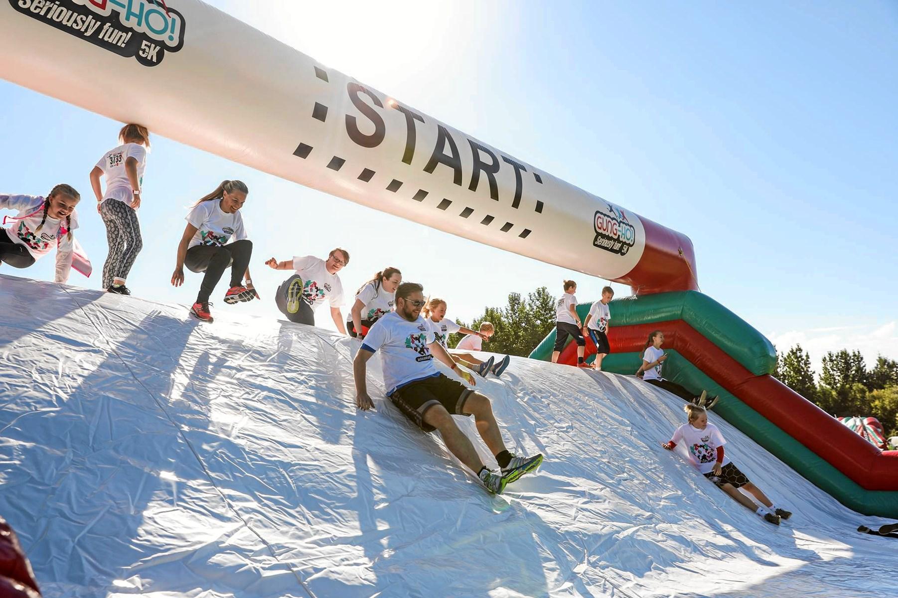 Gung-Ho er et kæmpe fun-run og forhindringsløb med oppustelige forhindringer. Foto: Gung-Ho Danmark