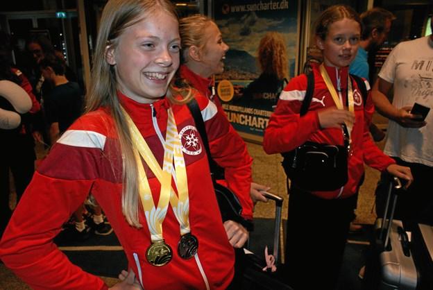 Kristine med både guld og bronze. Foto: Ole Skouboe