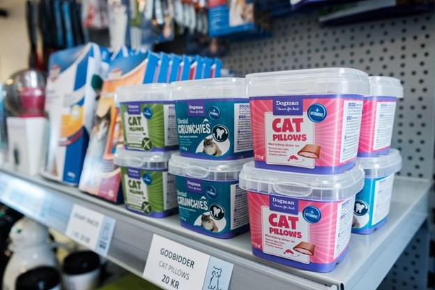 Hos Kattens Værn kan du bl.a. købe kattefoder og godbidder til din nye kat. Foto: Lasse Sand