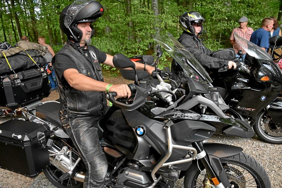 Der var trængsel ved åbningen af det store motorcykeltræf Thy Træf torsdag middag. Foto: Bo Lehm
