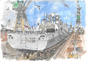 Tegninger fra værftet kunstner: Jørgen Kallan følger livet på Orskov Yard