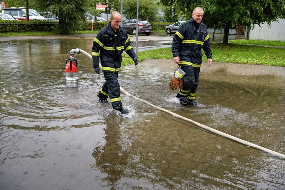 Thisted under vand efter store mængder regn fredag. Foto: Bo Lehm