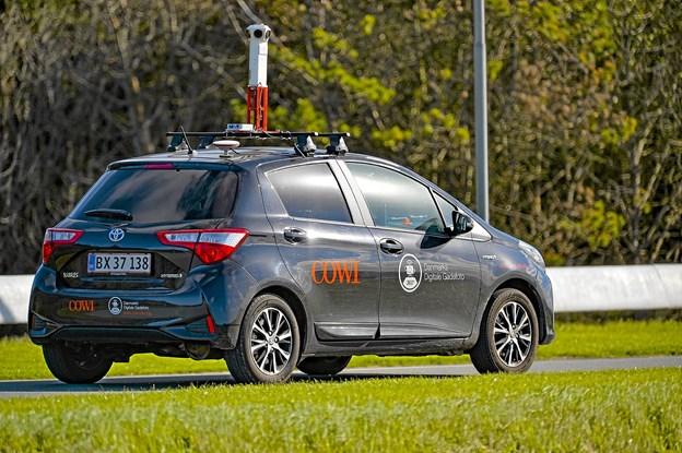 En af COWIs 360 grader-pano-biler fotograferet ved Hanstholm, hvor en ny villavej lige skulle med i 2018 fotograferingen. Foto: Ole Iversen
