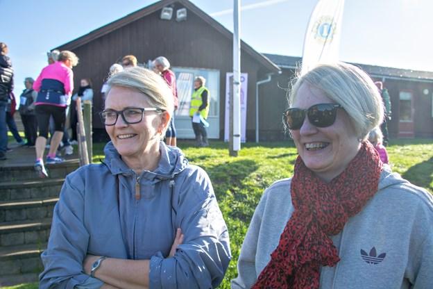Søstrene Gitte Møller og Sanne Møller var klar til en omgang motion og hygge.Foto: Kurt Bering