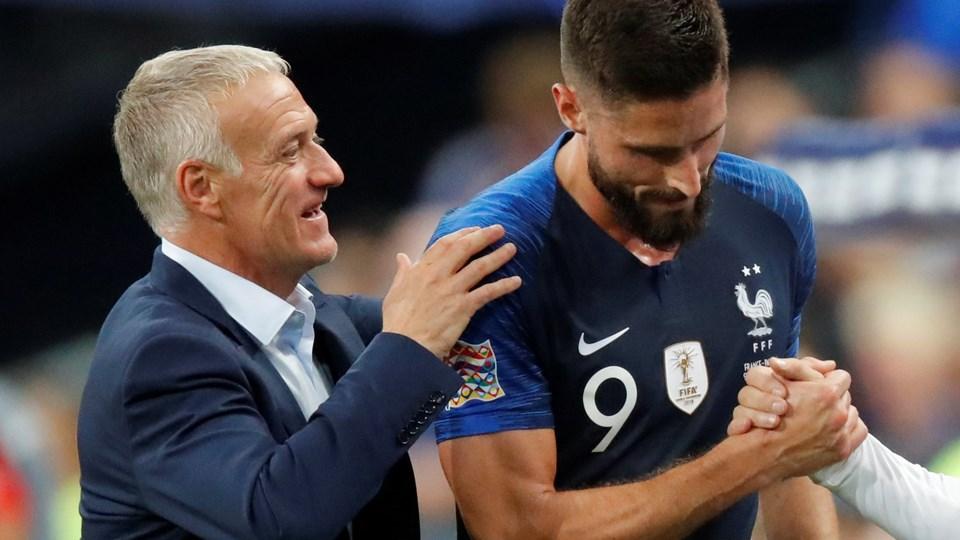 Olivier Giroud (th.) scorede Frankrigs sejrsmål mod Holland i Nations League. Foto: Charles Platiau/Reuters