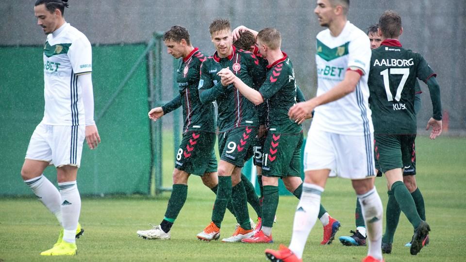 Tom van Weert stod for AaB's mål, da det tirsdag blev 2-2 mod polske Slask Wroclaw. Foto: Torben Hansen
