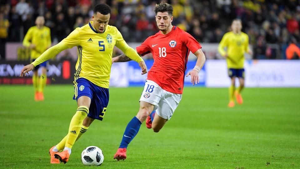 Sverige og Chile var begge indstillet på at angribe i lørdagens testkamp. Foto: Reuters/Tt News Agency