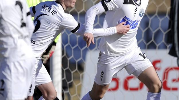 Patrick Pedersen i jubel dengang han stadig spillede i Hjørring. Arkivfoto: Michael Koch $ID/NormalParagraphStyle: