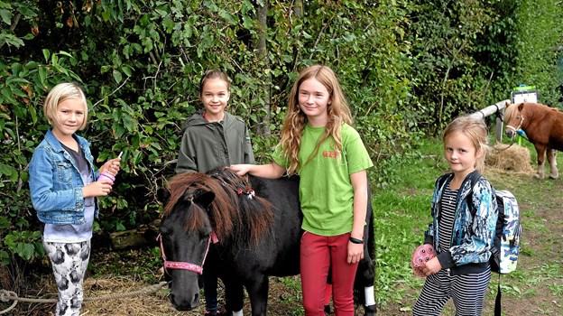 Maja og ponyen Musse tilbød rideture til Krista, Astrid og Petrine. Foto: Niels Helver