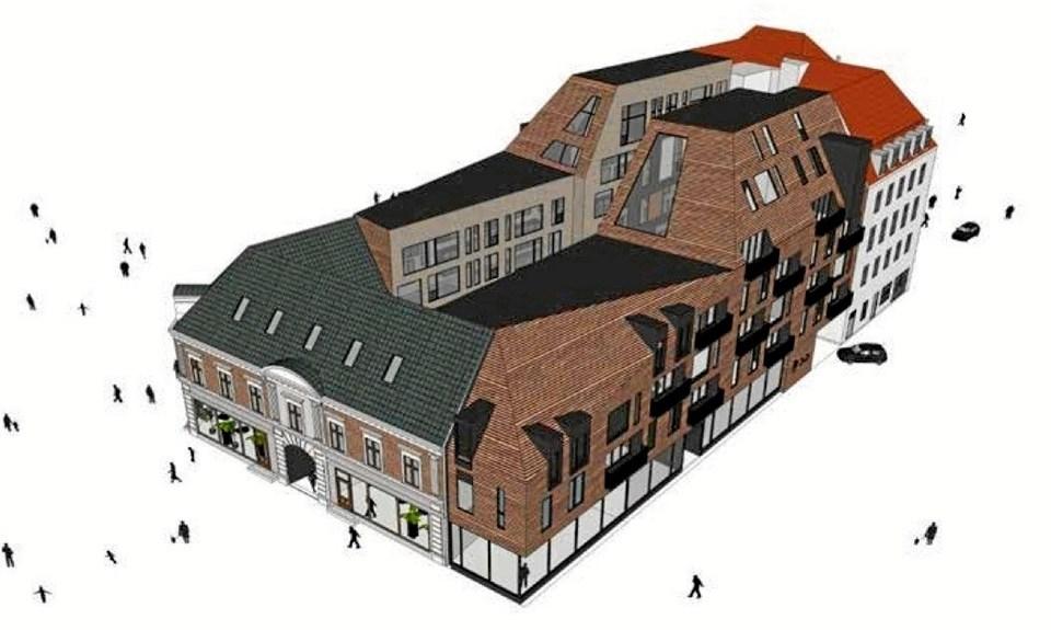 Et Investeringsselskab købte i 2017 hele ejendommen på Springvandspladsen, som strækker sig ned ad Jernbanegade og Svinget. Ejendommen havde tilhørt ejerkredsen bag Fætter BR-kæden siden 1987. ILLUSTRATION: arkitektfirmaet C. F. Møller, Aalborg