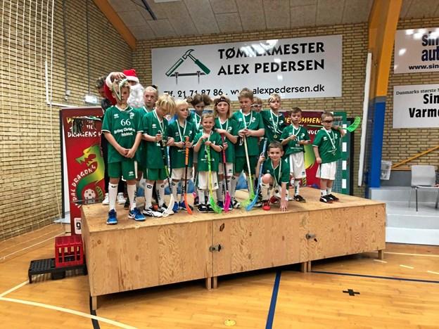 Floorball spillere fra Sindal var på hjemmebane ved et stort stævne i søndags Foto: Sindal IF