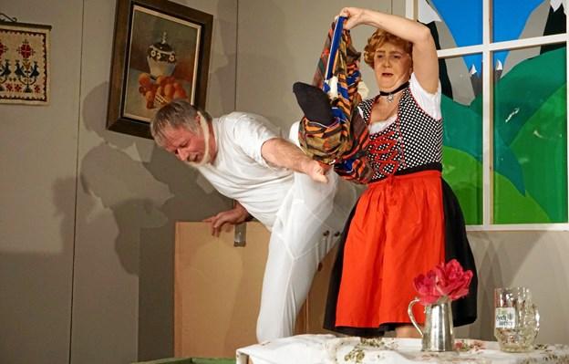 Men de fik også latteren frem hos publikum. Foto: privat.