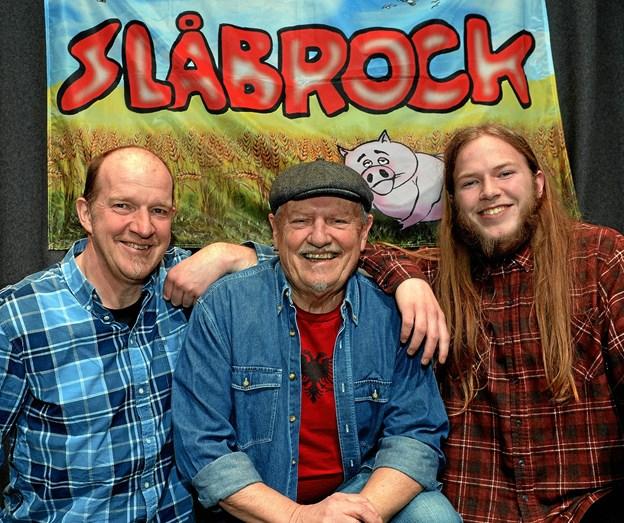 Den ny udgave af Slåbrock Trio. Fra venstre Ole Albrechtsen, Kjeld Torbjørn og Torkild Mørch Albrechtsen.Foto: Finn Folsted