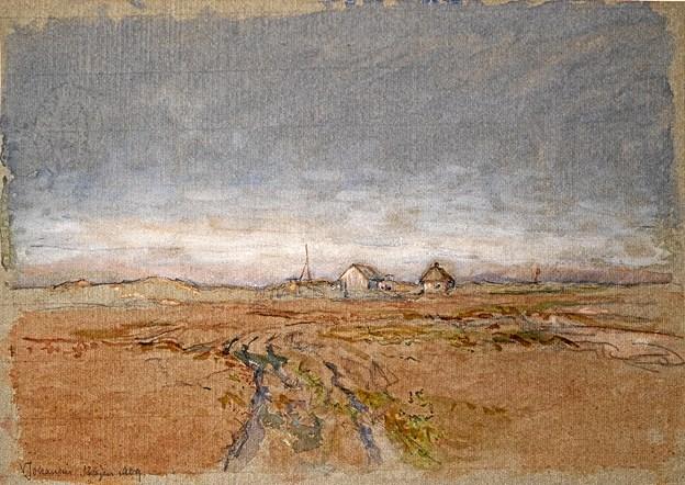 Viggo Johansen. Nybyggerhuse på heden. 1909. Akvarel og gouache over blyant på papir. Foto: Skagens Kunstmuseer