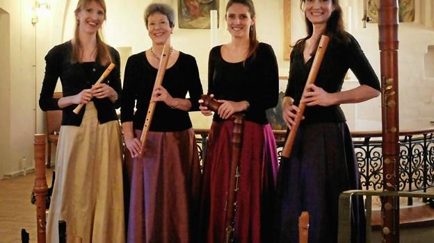 Den sjællandske blokfløjtekvartet In Consort leverer musikken 30. juli i Frederikshavn Kirke
