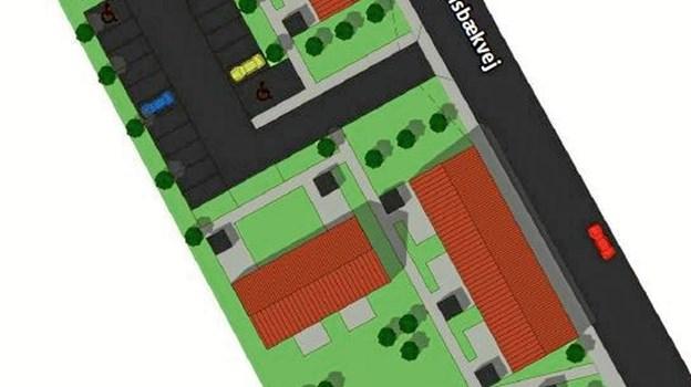 Ill. fra planmateriale med skitse til placering af fem huse med i alt 13 boliger ved Solsbækvej.