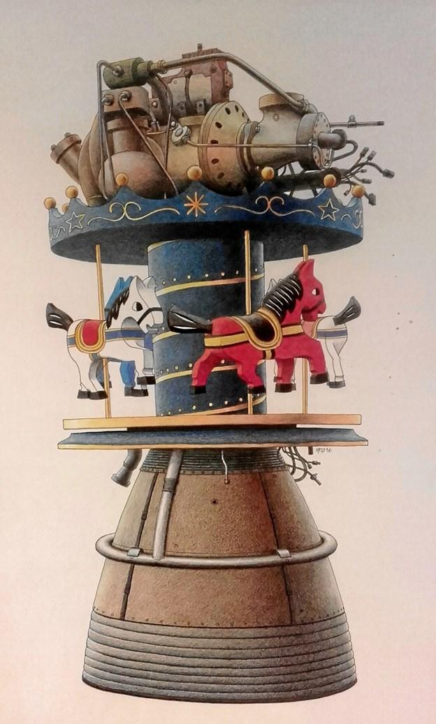 Kristian Forum Jørgensen er skaberen af maleriet af den fine karussel.