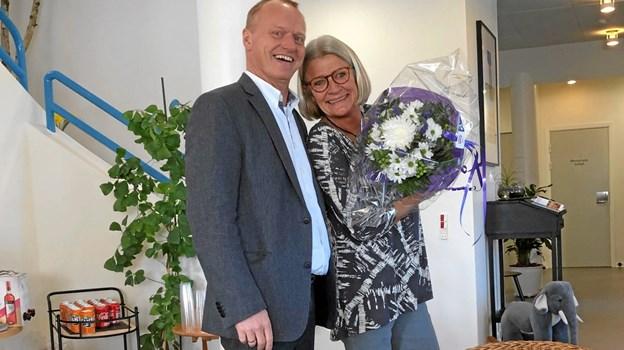 Aino Halsboe fra familiecentret og familie- og forebyggelseschef Bo Skou Frank kunne sammen glæde sig over de nye lokaler til kommunens medarbejdere i Fjerritslev. Privatfoto