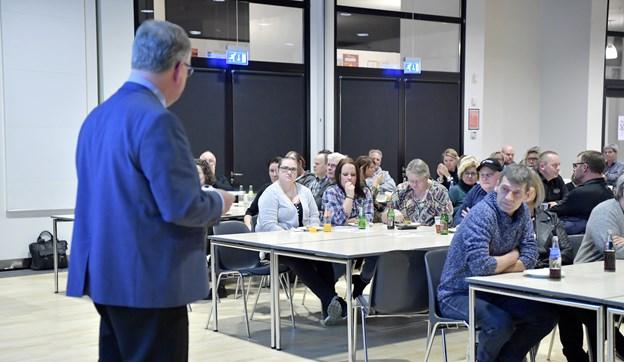 Borgmester Mogens Gade gav de mange erhvervsdrivende en varm velkomst.  Foto: Bente Poder