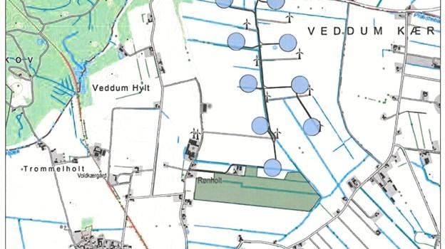 Kort over området til den ny vind- og solcellepark. Tegning: Mariagerfjord Kommune