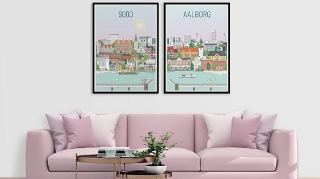 Nu kan du dekorere væggen med helt nye Aalborgplakater. PR Foto
