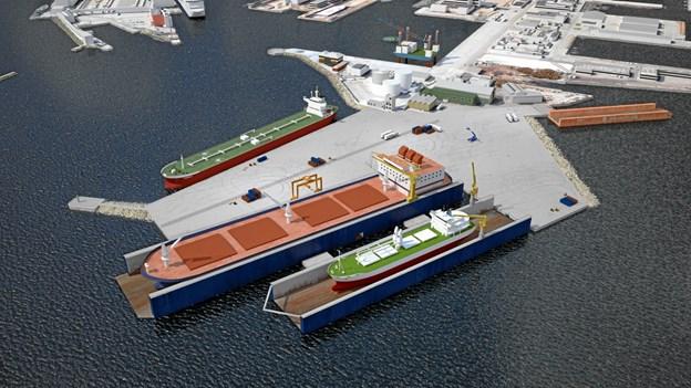En visualisering af den nye dokkapacitet hos Orskov Yard.  Foto: Port of Frederikshavn.
