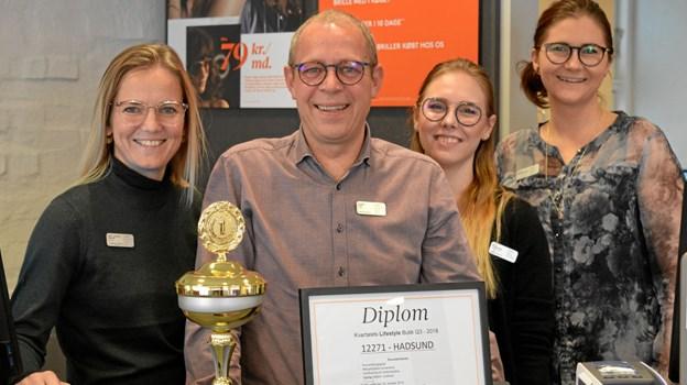 Britt (tv), Henrik, Ea og Mette står bag kåringen med 160 Lifestyle aftaler og kvartalets butik. Foto: hhr-freelance.dk