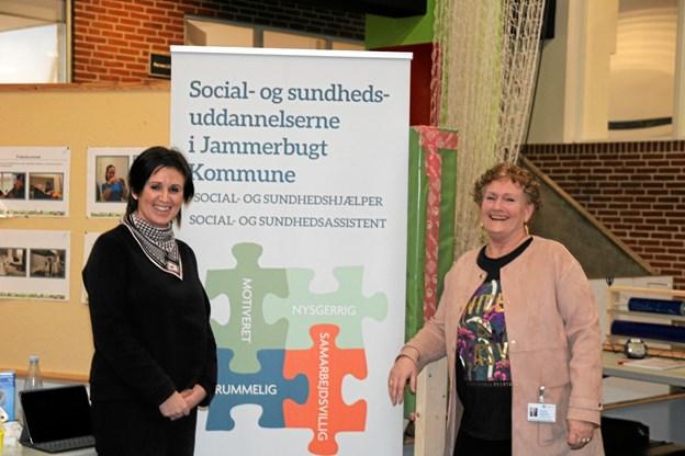Grethe Høgsted og Tanja Christensen var på messen for at få flere social- og sundhedselever i Jammerbugt kommune. Foto: Flemming Dahl Jensen Flemming Dahl Jensen