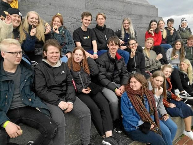 Under besøget på slagmarken ved Waterloo fik eleverne indblik i baggrunden fra Napoleons sidste, fatale nederlag. ?Privatfoto