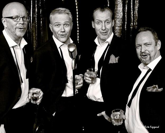 Fire sjove mænd sørger for underholdningen, når Frederikshavn Teaterforening 1. december inviterer til julefrokost og julecabaret. PR-foto