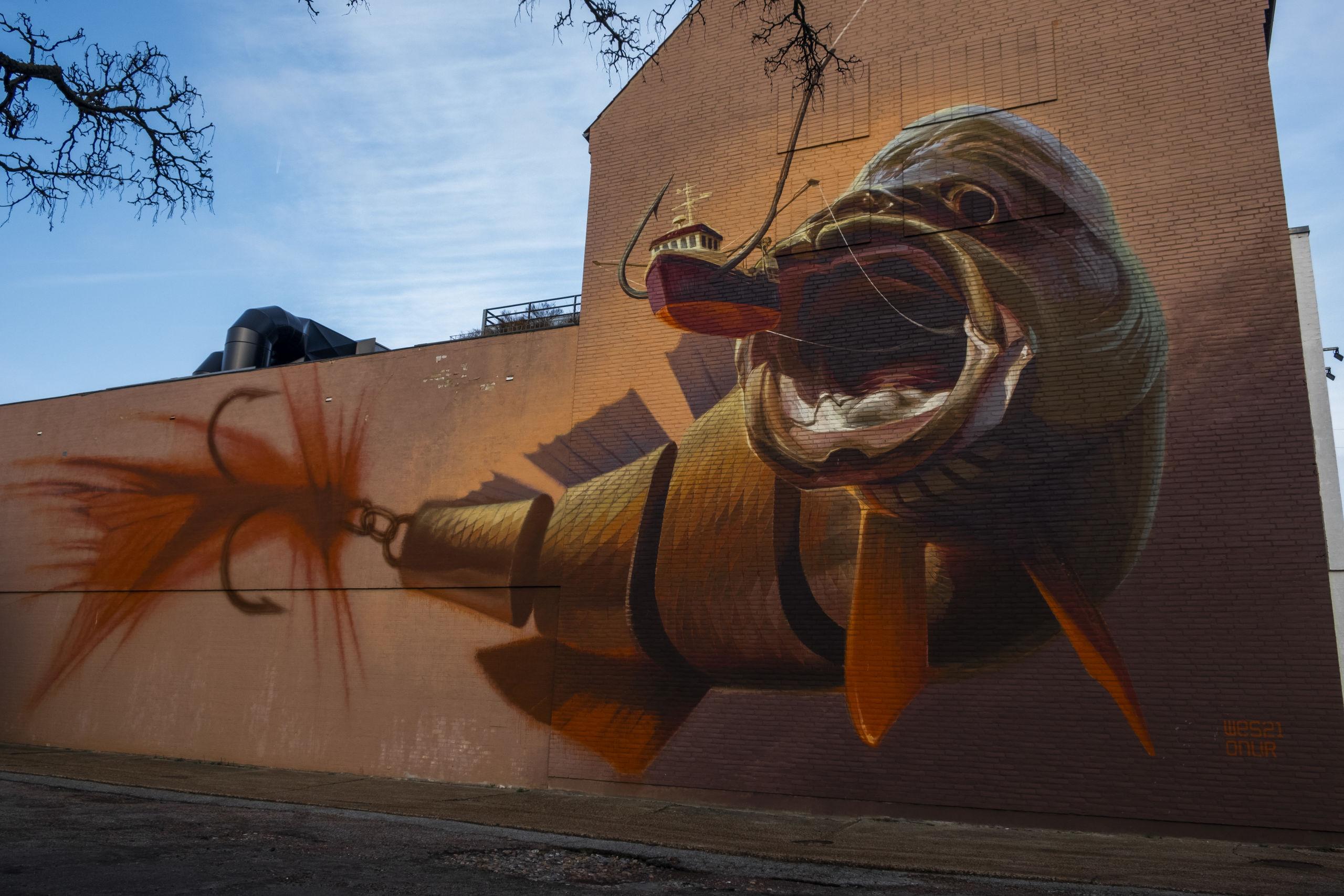 Wes21 & Onurs værk 'Big Catch' i Dannebrogsgade er en af de mest omtalte og delte i verden. Foto: Lasse Sand