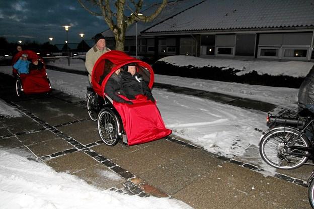 Cykling uden alder på vej til rådhuset. Her er det Ingstrup som ankommer. Foto: Flemming Dahl Jensen Flemming Dahl Jensen