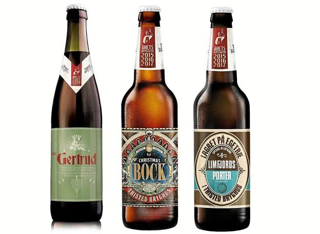 Tre nye øl fra Thisted Bryghus, er netop sendt på markedet: to juleøl og porteren i egelagret udgave.Foto: Ole Iversen