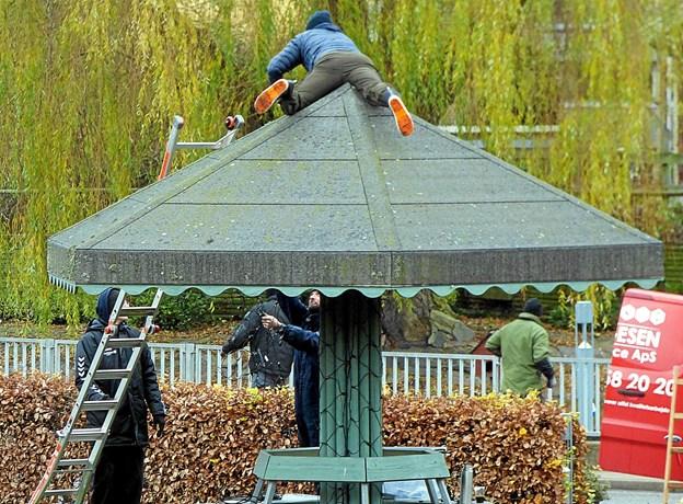 """Med en mand på toppen af paraplyen på Springvandspladsen i Als lykkedes det at få lyskæder hængt op, så hele """"taget"""" blev dækket til. Foto: Ejlif Rasmussen Ejlif Rasmussen"""
